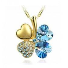 Swarovski náhrdelník štvorlístok zlato-modré