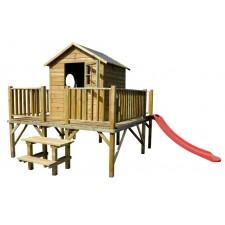 Drevený záhradný domček pre deti MILY + šmýkalka