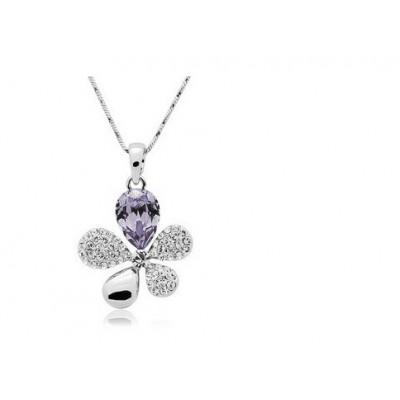 Swarovski náhrdelník kvietok jemne fialový