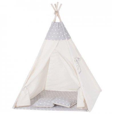 Springos Detský indiánsky stan Teepee hviezdičky - sivý