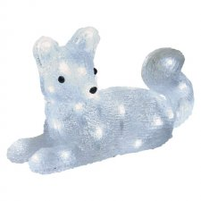 LED vianočná líška, 32cm, vonkajšia, studená biela, časovač