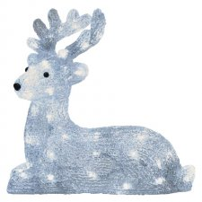 LED vianočný jelenček, 31cm, vonkajšia, studená biela,čas.