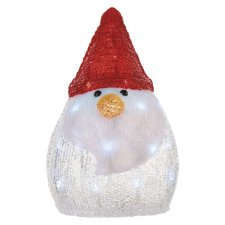 LED vianočný snehuliak, 30cm, 3× AA, studená biela, časovač