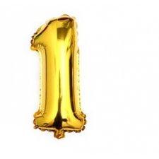 Narodeninový balón: Zlatý - číslo 1 - 76 cm