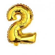 Narodeninový balón: Zlatý - číslo 2 - 76 cm