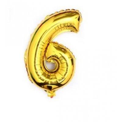 Narodeninový balón: Zlatý - číslo 6 - 76 cm