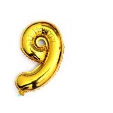 Narodeninový balón: Zlatý - číslo 9 - 76 cm