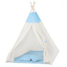 Springos Detský indiánsky stan Teepee hviezdičky - modrý