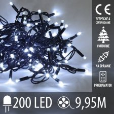 Vianočná LED svetelná reťaz na spájanie vnútorná + programy - 200LED - 9,95M Studená biela