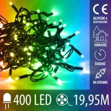 Vianočná LED svetelná reťaz na spájanie vonkajšia s časovačom - 400LED - 19,95M Multicolour