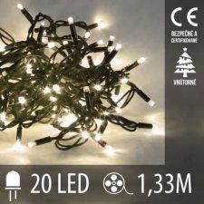 Vianočná LED svetelná reťaz vnútorná - 20LED - 1,33M Teplá Biela