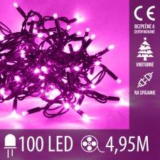Vianočná LED svetelná reťaz vnútorná na spájanie - 100LED - 4,95M Ružová