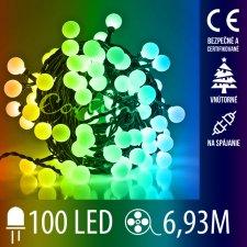 Vianočná LED svetelná reťaz vnútorná na spájanie guľky - 100LED - 6,93M Multicolour
