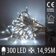Vianočná LED svetelná reťaz vonkajšia - 300LED - 14,95M Studená Biela