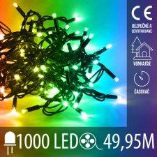 Vianočná LED svetelná reťaz vonkajšia s časovačom - 1000LED - 49,95M Multicolour