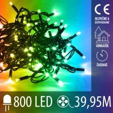 Vianočná LED svetelná reťaz vonkajšia s časovačom - 800LED - 39,95M Multicolour