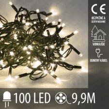 Vianočná LED svetelná reťaz vonkajšia s gumeným káblom - 100LED - 9,9M Teplá Biela