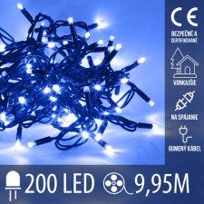 Vianočná LED svetelná reťaz vonkajšia na spájanie s gumeným káblom - 200LED - 9,95M Modrá