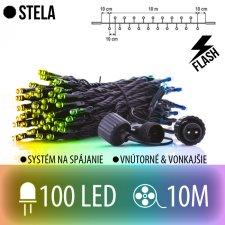 STELA spojovateľná LED svetelná reťaz CLUSTER vonkajšia FLASH - 100LED - 10M Multicolour