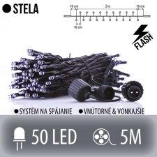 STELA spojovateľná LED svetelná reťaz CLUSTER vonkajšia FLASH - 50LED - 5M Studená biela