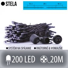 STELA spojovateľná LED svetelná reťaz vonkajšia - 200LED - 20M Studená biela