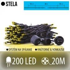 STELA spojovateľná LED svetelná reťaz vonkajšia - 200LED - 20M Teplá biela