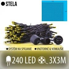 STELA spojovateľná LED svetelná sieť vonkajšia - 240LED - 3x3M Teplá biela