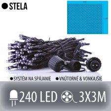 STELA spojovateľná LED svetelná sieť vonkajšia - 240LED - 3x3M Studená biela