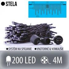 STELA spojovateľná LED svetelná záclona vonkajšia - 200LED - 4M Studená biela