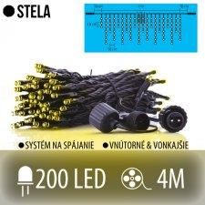 STELA spojovateľná LED svetelná záclona vonkajšia - 200LED - 4M Teplá biela