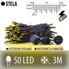 STELA spojovateľná LED svetelná záclona vonkajšia FLASH - 50LED - 3M Teplá biela