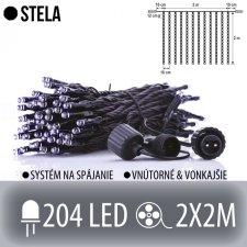 STELA spojovateľná LED svetelná záclona vonkajšia - záves - 204LED - 2x2M Studená biela