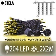 STELA spojovateľná LED svetelná záclona vonkajšia - záves - 204LED - 2x2M Teplá biela