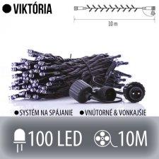 VIKTÓRIA spojovateľná LED svetelná reťaz vonkajšia - 100LED - 10M Studená biela