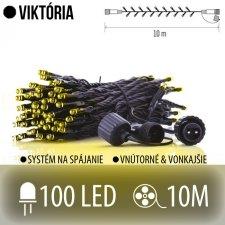 VIKTÓRIA spojovateľná LED svetelná reťaz vonkajšia - 100LED - 10M Teplá biela