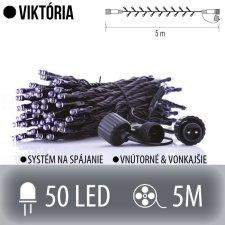 VIKTÓRIA spojovateľná LED svetelná reťaz vonkajšia - 50LED - 5M Studená biela