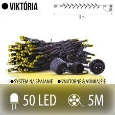 VIKTÓRIA spojovateľná LED svetelná reťaz vonkajšia - 50LED - 5M Teplá biela