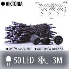 VIKTÓRIA spojovateľná LED svetelná záclona vonkajšia - 50LED - 3M Studená biela