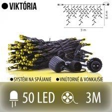 VIKTÓRIA spojovateľná LED svetelná záclona vonkajšia - 50LED - 3M Teplá biela