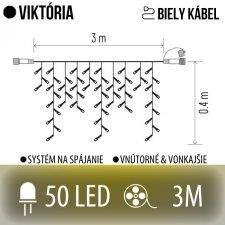VIKTÓRIA spojovateľná LED svetelná záclona vonkajšia - 50LED - 3M Teplá biela - biely kábel