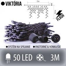 VIKTÓRIA spojovateľná LED svetelná záclona vonkajšia FLASH - 50LED - 3M Studená biela