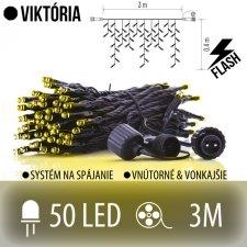 VIKTÓRIA spojovateľná LED svetelná záclona vonkajšia FLASH - 50LED - 3M Teplá biela