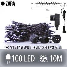 ZARA spojovateľná LED štartovacia súprava - svetelná reťaz + adapter - vonkajšia - 100LED - 10M Studená biela