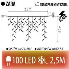 ZARA spojovateľná LED svetelná záclona vonkajšia FLASH - 100LED - 2,5M Červená/Vintage - transparentný kábel