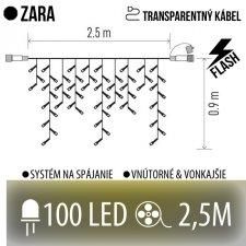 ZARA spojovateľná LED svetelná záclona vonkajšia FLASH - 100LED - 2,5M Teplá biela/Studená biela - transparentný kábel