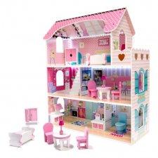 Drevený domček 70 cm ružový