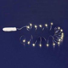 Micro LED svietiaci reťazec, batériový, ploché puzdro na batérie, teplá biela