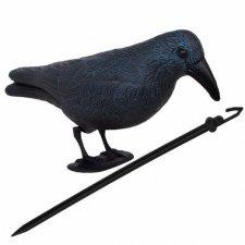 SPRINGOS Odpudzovač plašič vtákov stojaca vrana -11x39x18,5cm modro-čierna