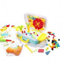Puzzle bloky v kufri + skrutkovač - 258ks