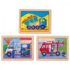 Puzzle drevené autá v práci